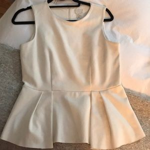 H&M sueded white peplum top